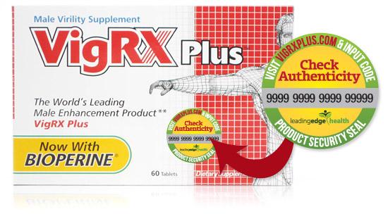 VigRX Plus yang asli deilengkapi dengan stiker yang terdapat kode otentikasi keaslian produk.
